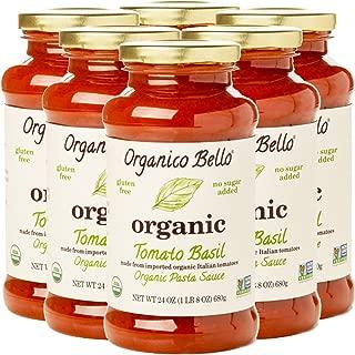 Organico Bello - Organic Gourmet Pasta Sauce - Tomato Basil - 24oz (Pack of 6) - Non GMO, Whole 30 Approved, Gluten Free