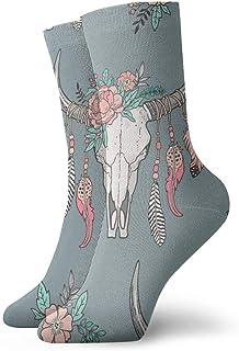 スエードグレーのファッショナブルなカラフルなファンキー柄のコットンドレスソックス11.8インチの羽と花ピーチと自由奔放に生きるロングホーン牛スカル