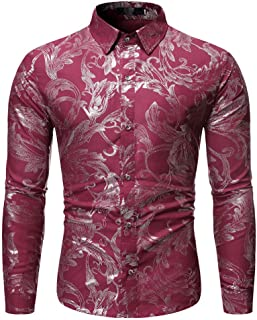 Men's Casual Ethnic Style Vintage Hot Stamping Printing Long Sleeve Button Slim-Fit Flower Shirt Blouse Tops