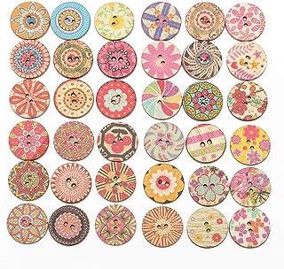 falllea 200 Piezas de 20 mm Colores Mezclados Redondos Botones de Madera con 2 Agujeros Estilo Vintage Botones Redondos de...