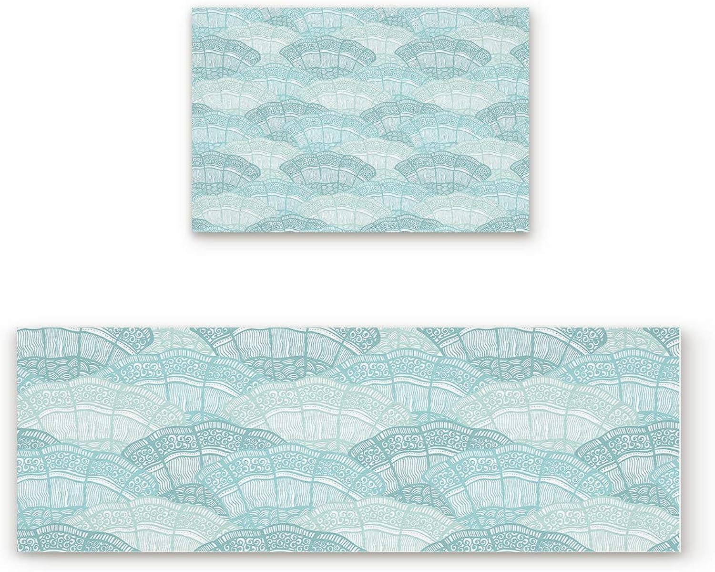Shine-Home 2 Piece Non-Slip Kitchen Mat Rubber Backing Doormat Runner Rug Set, Kids Area Rug Carpet Bedroom Rug Abstract Mandala Water Rippled 19.7''x31.5''+19.7''x63''