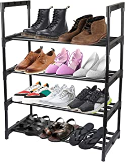 4 Tier Metal Shoe Storage Organizer Shelf, Makife Free Standing Shoe Tower Racks, Home Office Cabinet Storage Organizer Shelves
