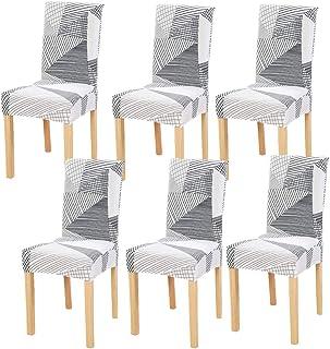 6 Pièces Housses de Chaise de Salle à Manger Couverture de Chaise Extensible Amovible Lavable élastique pour Un Ajustement...
