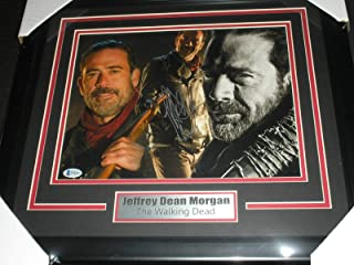 JEFFREY DEAN MORGAN Signed 10x13 Photo FRAMED Autograph Negan Walking Dead BECKETT BAS COA