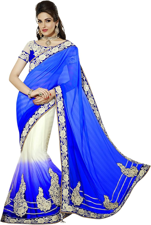 INMONARCH Womens Royal bluee And Off White Lehenga Saree SSA3305