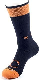 CALCETINES PERSONALIZADOS Algodón peinado 100% HECHO EN ITALIA, calcetín individual para hombre en color azul con letra personalizada en contraste con diseño geométrico. L/XL (41-45)
