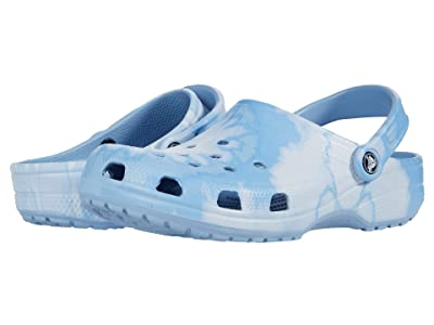 Crocs Classic Tie-Dye Graphic Clog (Chambray Blue) Clog Shoes