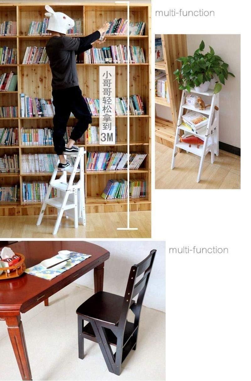 DY Escalera multifunción Taburete Hogar Madera Maciza IKEA Niños Silla Plegable Provincia Espacio Escalera de Cuatro escalones de Doble Uso Escalera Ascendente 40 × 46 × 90 cm (Color : Black): Amazon.es: Hogar