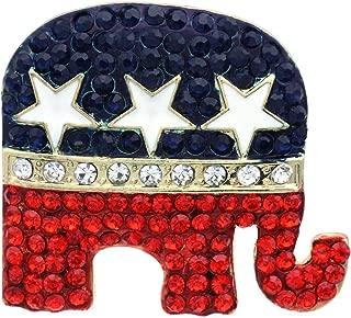 Republican Democratic Party Voting Campaign GOP Symbol Elephant Donkey Brooch Pin Set