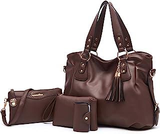 Fashion Handbag for Women Shoulder Bag Top Handle Satchel Hobo Tote Bag Purse Set 4pcs