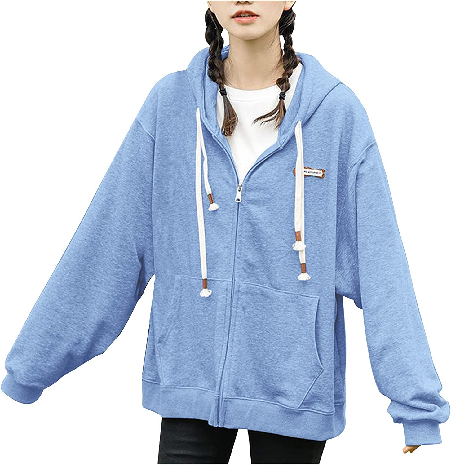 NEW before selling Women's Zip Up Y2K OFFicial mail order Hoodie Sleeve Fall Sweatshirts Oversized Long
