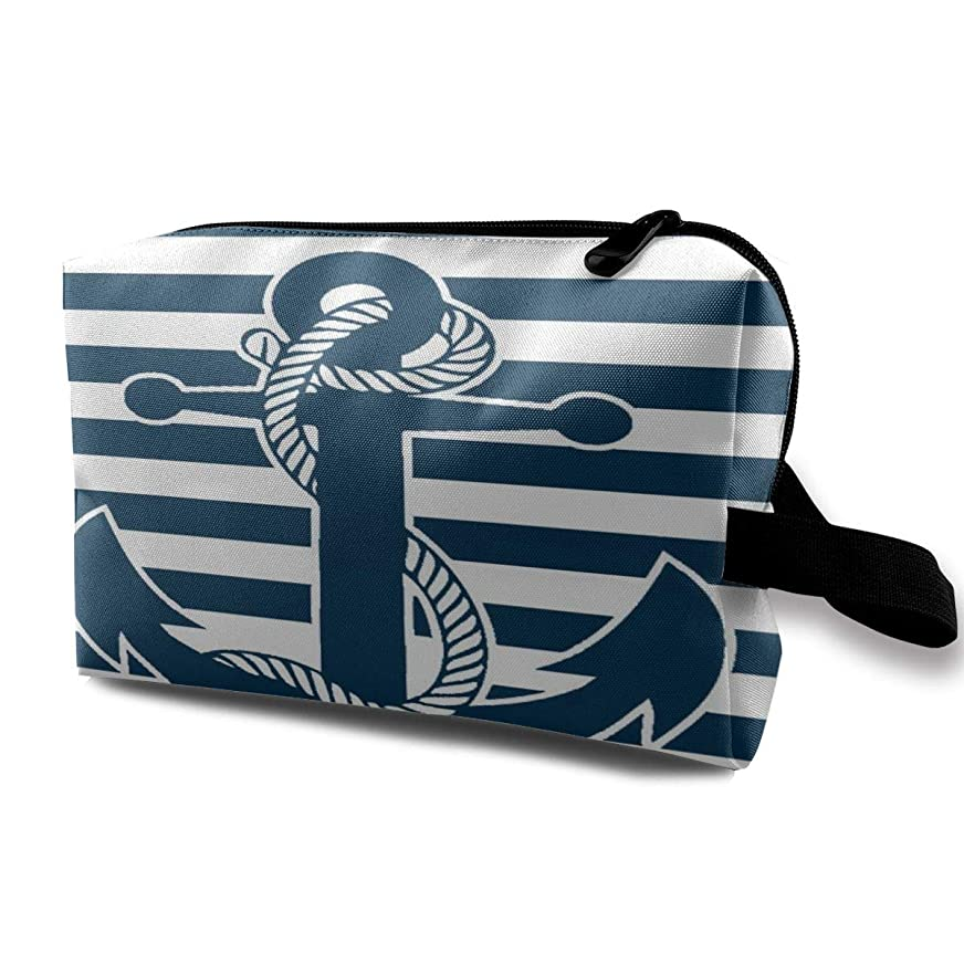 実行可能ピカソ時々時々Retro Nautical Anchor 収納ポーチ 化粧ポーチ 大容量 軽量 耐久性 ハンドル付持ち運び便利。入れ 自宅?出張?旅行?アウトドア撮影などに対応。メンズ レディース トラベルグッズ