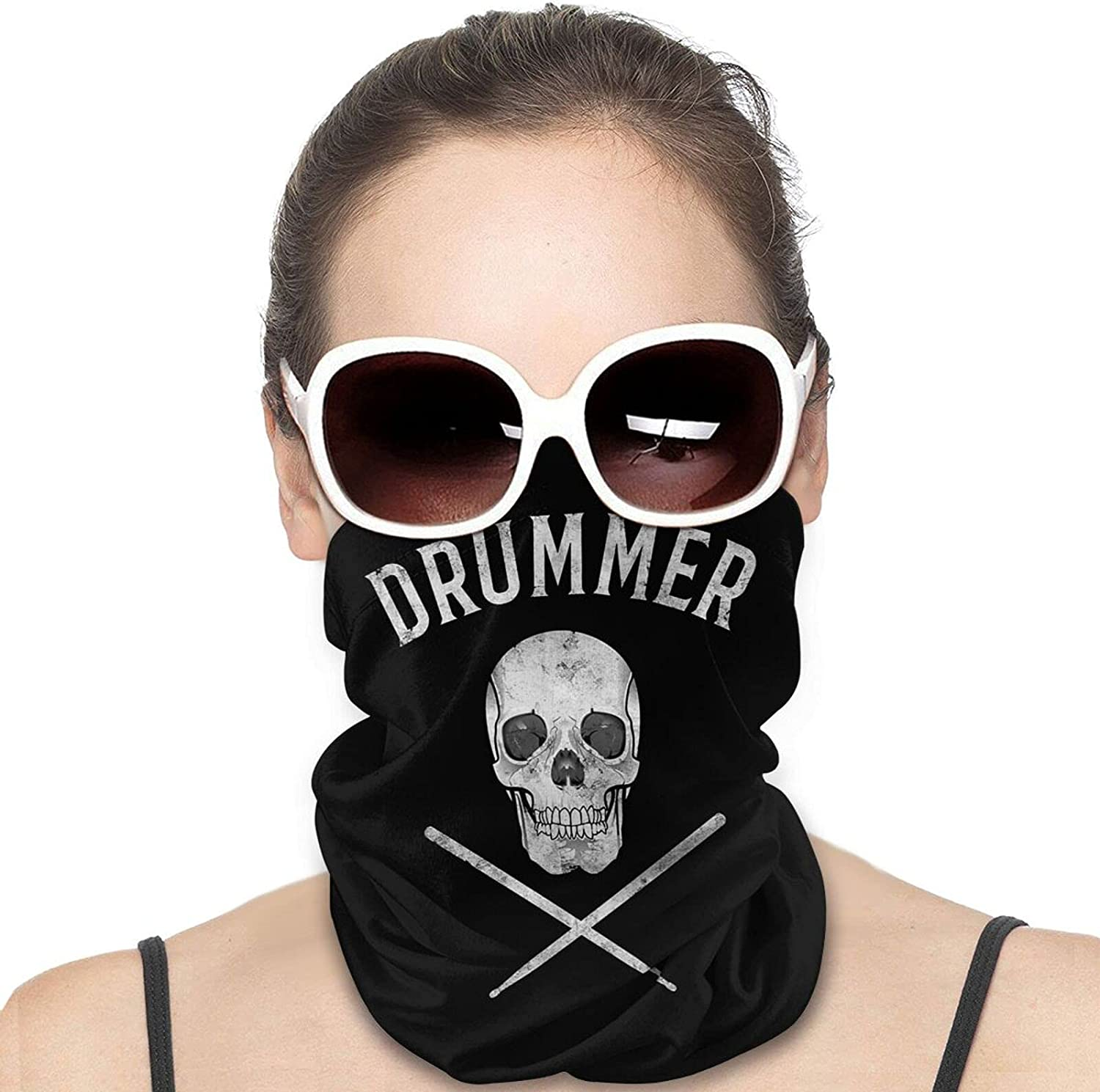 Skull Drumsticks Drummer Percussion Round Neck Gaiter Bandnas Face Cover Uv Protection Prevent bask in Ice Scarf Headbands Perfect for Motorcycle Cycling Running Festival Raves Outdoors