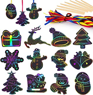 Mocoosy 48 Christmas Rainbow Scratch Paper Art, Magic Color Scratch Off Paper Xmas Ornaments DIY Decorations for Kids Crafts Kits with Snowflake, Snowman, Christmas Tree, Santa and More