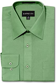 G-Style USA Men's Regular Fit Long Sleeve Solid Color Dress Shirts - Apple Green - X-Large - 32-33