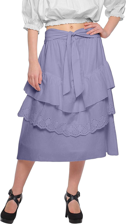 Moomaya Cotton Skirts for Women Below Knee Length Solid Ruffled Skirt