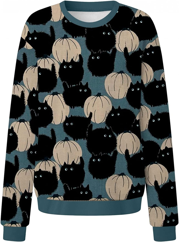 Halloween Sweatshirts for Women, Womens Funny Long Sleeve Bat Ghost Graphic Sweatshirts Casual Pullover Top Shirts