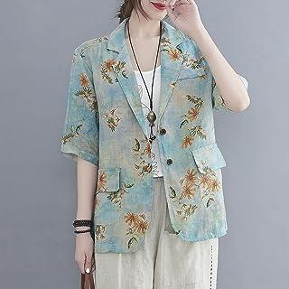 Leepesx Vintage Women Cotton Linen Blazer Floral Print Notched Lapel Half Sleeve Po et Button Casual Coat Ja et