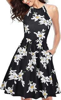 Women's Halter Neck Floral Summer Dress Casual Sundress with Pockets
