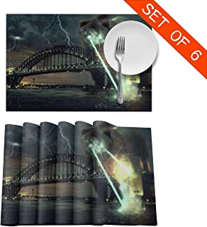 DerdYoaa Explosion Laser Bear Sydney Harbor Bridge Placemats Set of 6 for Dining Table Washable Placemat Non-Slip Kitchen Table Mats 12 X 18 Inches