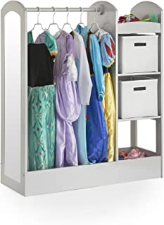 Guidecraft See and Store Dress-up Center – Grey: Kids Dramatic Play Storage Armoire with Mirror, Rack, Shelves & Bottom Tray - Toddlers Costume & Toy Organizer Furniture