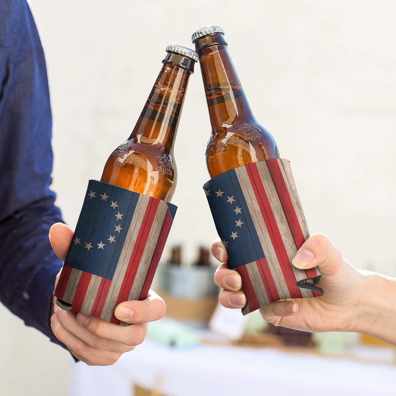 Hot-Beer Betsy Ross 1776 Bandera 2 – Pack enfriador de latas de cerveza mangas para enfriador de cerveza de neopreno Beer Koozies para latas suave botella de bebida hielo frío aislante Coozies