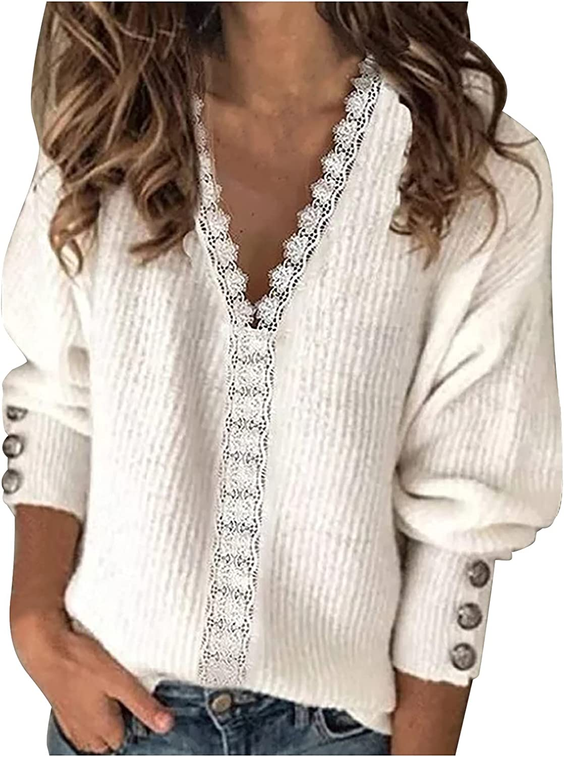 Women's Lantern Long Sleeve V Neck Lace Trimed Top Blouse Casual Loose Solid Flowy Shirts