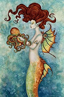 Mermaid and Octopus by Amy Brown Art Print Laminated Dry Erase Sign Poster 12x18