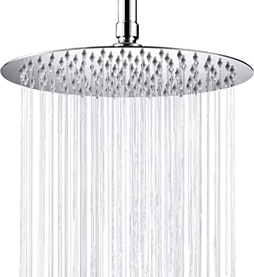 Cobbe Large Rainfall Shower Head 10 Inch Round Bathroom High Pressure Shower Head Stainless Steel Ultra-Thin Rain Showerhead, Chrome