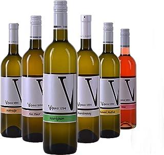 VIPAVA 1894 Weißwein Probierpaket: White Label Weine Gelber Muskateller, Sauvignon, Chardonnay, Grauburgunder, Malvazija, Rosè, Weißwein Verkostung, Qualitätswein - ZGP 6x 0,75L