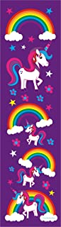 24 Rainbow Unicorn Bookmarks for Kids - Colorful Two Sided Glossy Design - Birthday Party Favors Supplies - Reading Incentives - School Student Prizes (Purple Unicorn)