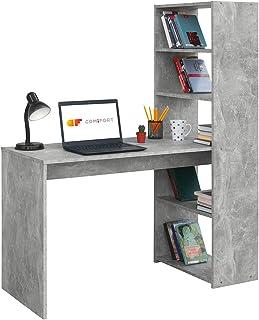 COMIFORT Escritorio con Estantería - Mesa de Estudio con Librería de Estructura Firme Moderna y Minimalista con 4 Baldas ...