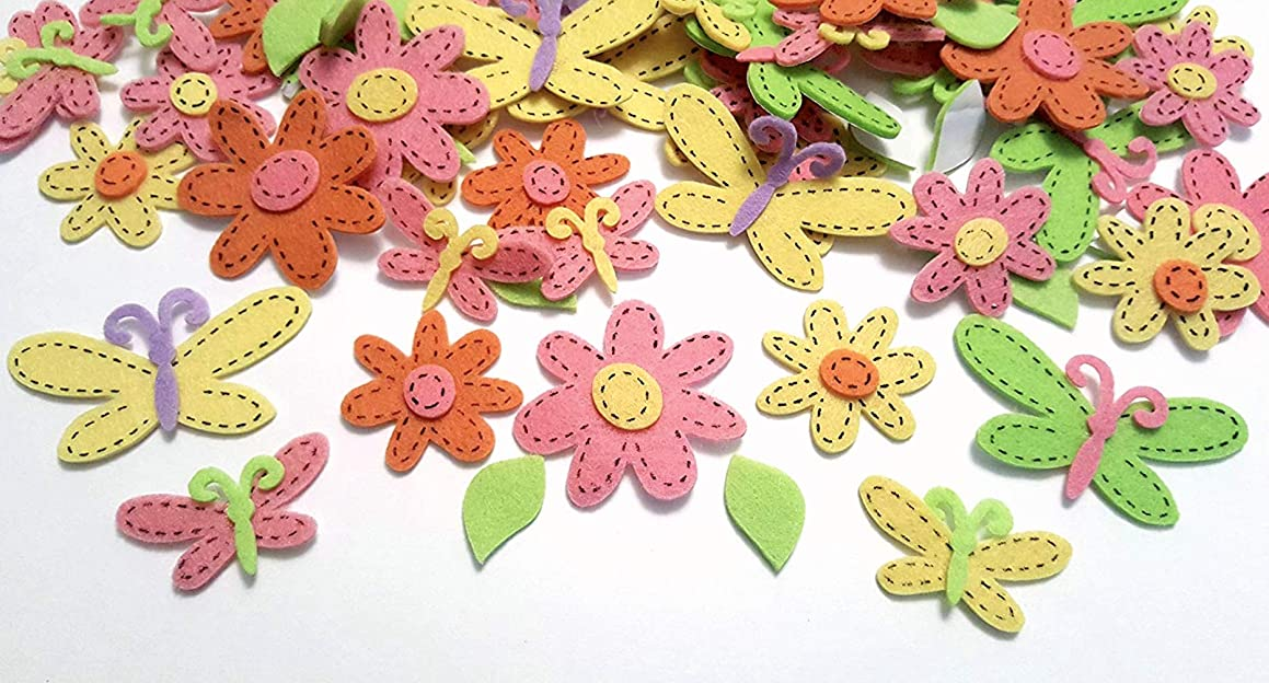 82 Piece Felt Daisy and Butterfly Felt Stickers