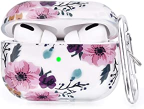 V-MORO Compatible with Airpods Pro Case, Cute Clear Airpod Pro Cover Transparent Protective Case Sparkle Crystals Girl for Apple Airpods Pro [Front LED Visible] Charging Skin Women (Pink Flower)