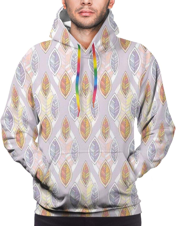Men's Hoodies Sweatshirts,Cartoon Style Foliage Pattern with Many Colors Fresh Spring Season Blooms Image