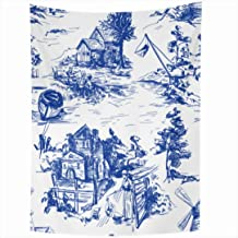 Ahawoso Tapestry 50x60 Inch Blue Jouy Classic Pattern Old Townvillage Scenes Fishing Abstract Toile French Bucolic Landscape Baroque Rococo Tapestries Wall Hanging Home Decor Living Room Bedroom Dorm