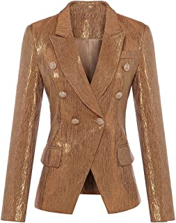 654e1c9ebf0 maxsmarts 2018 Designer Women s Lion Metal Buttons Double Breasted Blazer  Jacket Outer Coat Gold