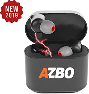 AZBO True Wireless Bluetooth Earbuds 5.0 by AZBO - iOS Android Compatible in-Ear Headphones - IPX Waterproof Stereo Sound Earphones with Microphone and Charging Case - 7 Hours Extended Playtime