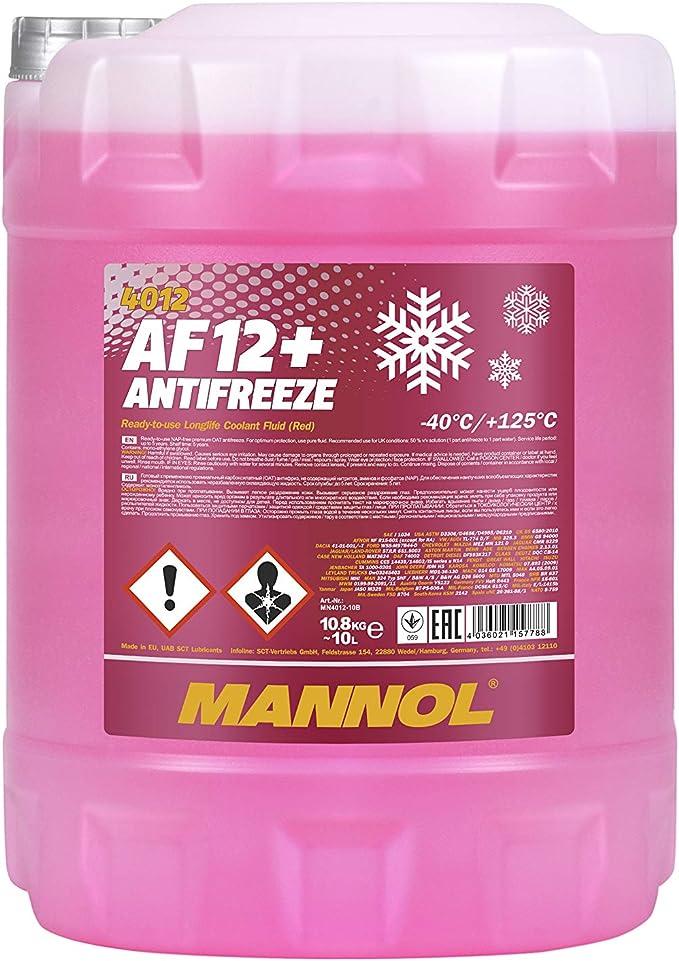 Mannol 15778800000 Kühlerfrostschutz Af12 1x10 Liter Rosa Bis 40 C Für G12 Frostschutz Auto