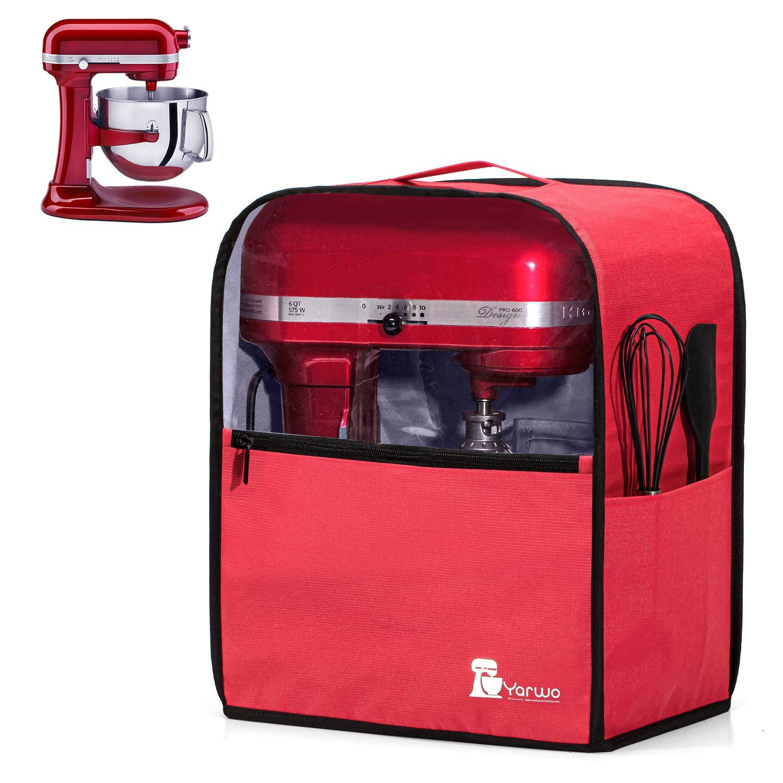 Yarwo Cubierta para Batidoras Amasadoras, Cubierta para KitchenAid Robots de Cocina 5.7 y 7.6 L, Funda Visible para Batidoras Amasadoras, con Asa y Bolsillos, Rojo: Amazon.es: Hogar