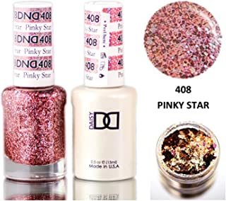 Daisy DND Pinks & Orange Soak Off GEL POLISH DUO, All In One Gel Lacquer + Matching Nail Polish Color for Nails (with bonus side Glitter) Made in USA (Pinky Star (408))