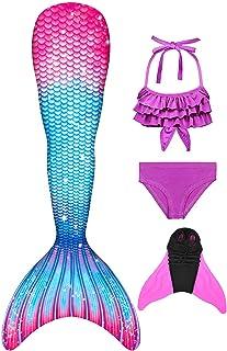 comprar comparacion Decool Cola de Sirena Traje de Baño Sirena de Las Muchachas Bikini 4pcs Set, Princesa Cosplay Conjunto con Cola de Sirena ...