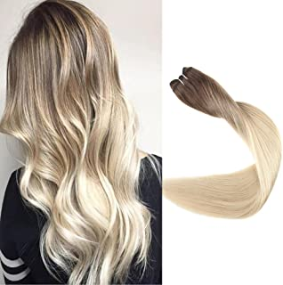Full Shine 16 inch Ombre Hair Weft Extensions Full Head Remy Hair Human Sew in Hair Extensions Balayage Color #3 Fading to #8 and #613 Blonde 100gram Per Package
