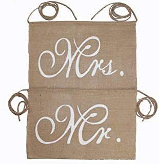Koker Mr and Mrs Chair Burlap Bunting Banner Chair Signs Garland for Vintage Rustic Wedding Decoration, Bridal Shower, Wedding Photo Booth Props Backdrop