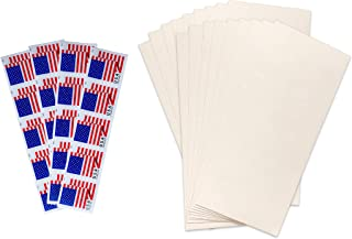 20 Postage Stamps with 20 (#10) envelopes Bundle by Wayne Global- Stamp Design May Vary