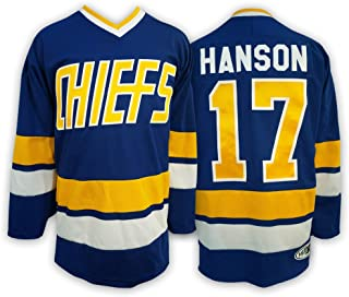 Mad Brothers #17 Hanson Charlestown Chiefs Slapshot Movie Officially Licensed Hockey Jersey Made in Canada