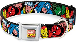 Buckle-Down Seatbelt Buckle Dog Collar - 5-Marvel Characters Black - 1