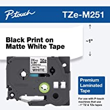 "Brother P-touch TZe-M251 Black Print on Premium Matte White Laminated Tape 24mm (0.94"") wide x 8m (26.2') long"
