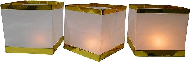 silber 48 Wasserlaterne Wasserlampion mit Teelicht Papierlaterne 15 cm