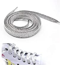 Aancy-Colorful Man Women Shoelaces Sneakers Metallic Glitter Shiny Shoelace Flat Sports Running Shoe Lacing